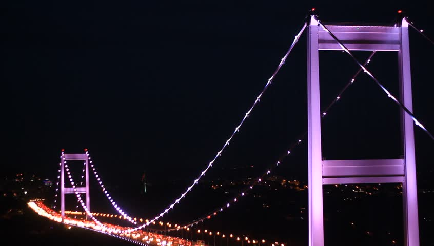 Fatih Sultan Mehmet Bridge. Hundreds of thousands of vehicles use Istanbuls bridges each day and night.