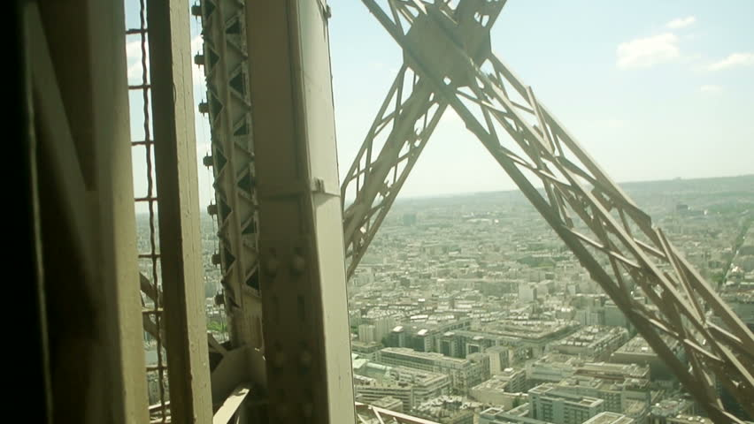 Paris view from above, from inside the fast elevator moving up at Eiffel Tower, Paris, Ile de France, France