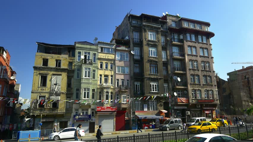 ISTANBUL - MAY 4, 2015: Tarlabasi, the other Istanbul. Old Houses at Tarlabasi District in Istanbul, Turkey