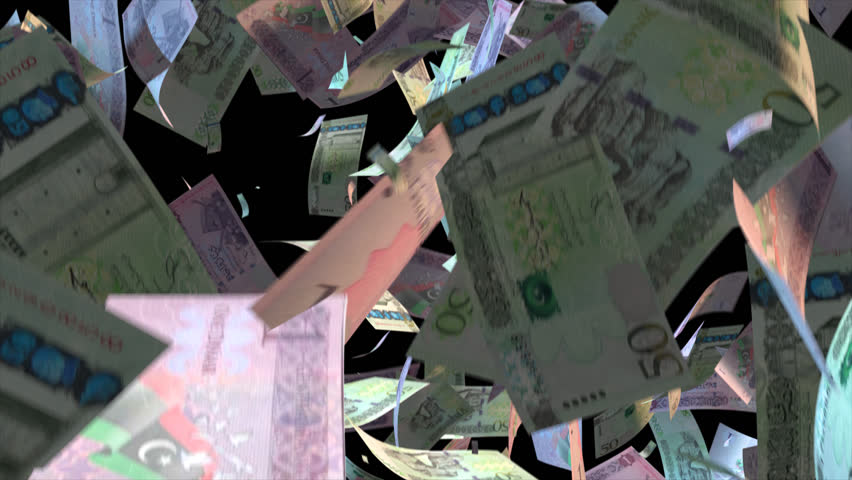 Falling Libya money banknotes