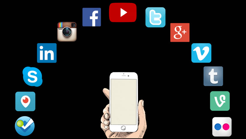 Editorial Animation: Social Media Icons, Smart Phone Concept / Alpha Channel