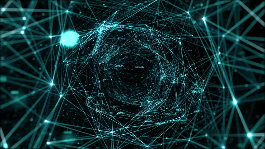 Abstract space background, geometry surfaces, lines and points. Abstract tunnel grid. Can be used as digital dynamic wallpaper, technology background.