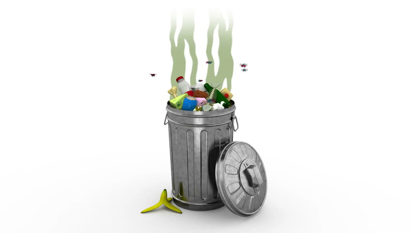 Smelly Garbage Bin. 3D animation. Alpha channel, loopable.