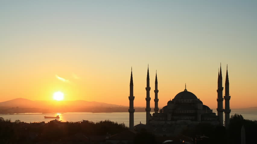 Time lapse Istanbul sunset behind Blue Mosque - HD stock footage clip