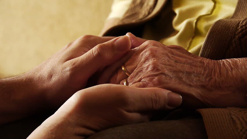 Senior old woman young man hold hand wrinkle skin close up  - HD stock footage clip
