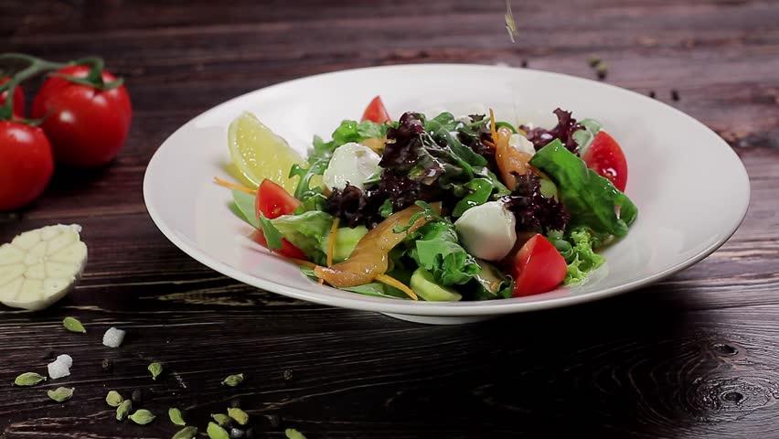 Tasty salad with salmon. Healthy food.