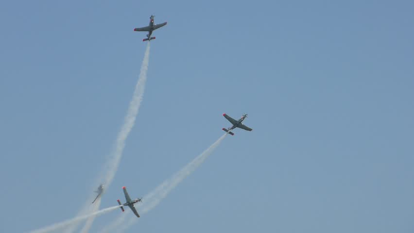 PRUSZCZ GDANSKI, POLAND - JUNE 13 2015: Aircrafts formation aerobatics