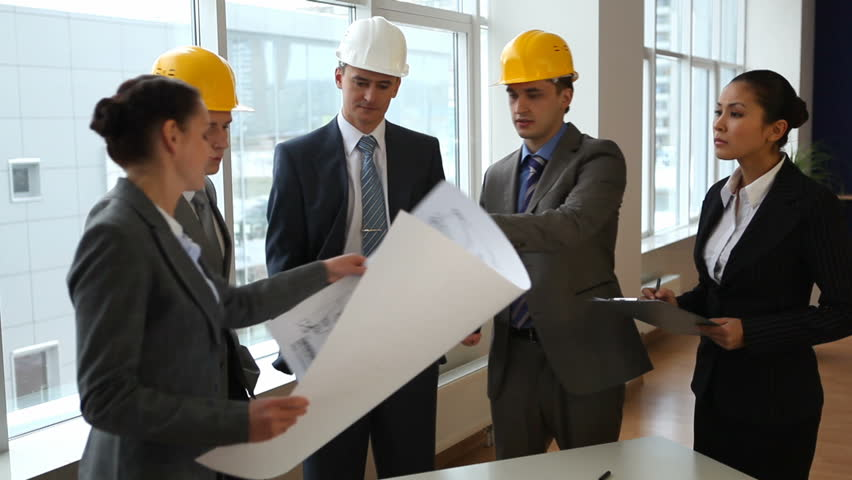 Business team discuss a architectural design