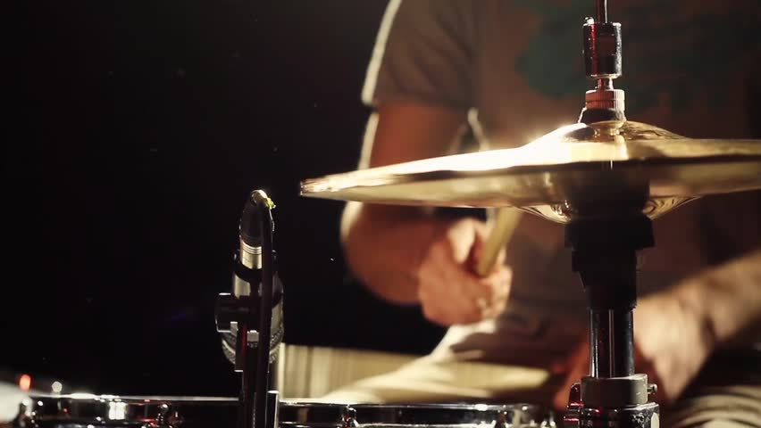 Anonymous Drummer Drumming on Stage - Close Up