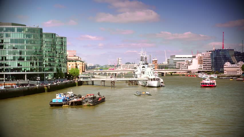 LONDON - MAY 10 2015: London skyline on Thames river with Shard in the background. Completed in 2012, it is the tallest building in the European Union. ULTRA HD 4k,real time,zoom - 4K stock footage clip
