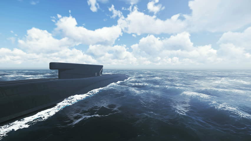 Russian ballistic missile submarine Borei from surfaced to submerged position. Realistic three dimensional animation. - 4K stock video clip