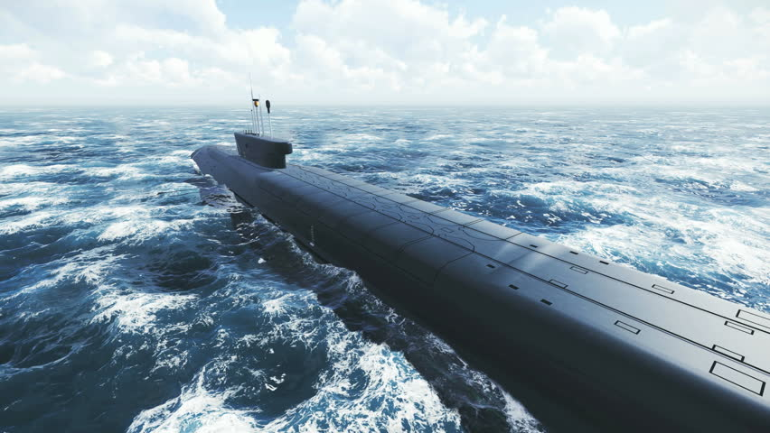 Rear view of the russian ballistic missile submarine Borei at northern sea. Realistic three dimensional animation. - 4K stock video clip