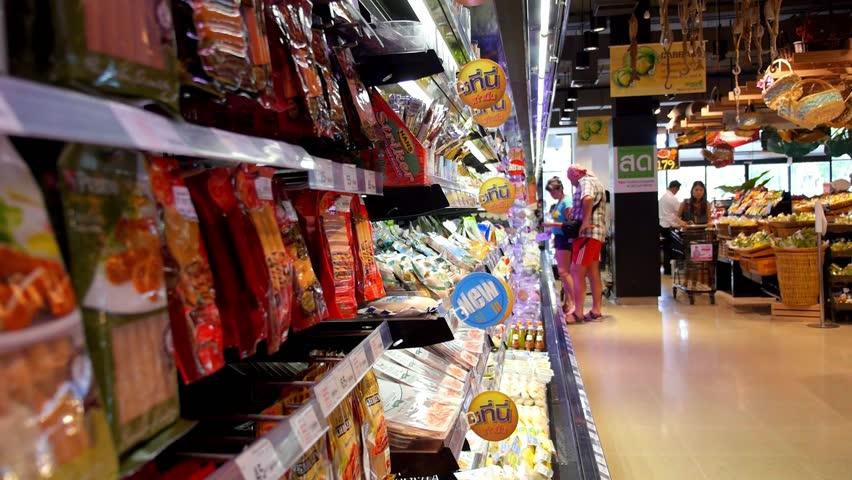 THAILAND, KOH SAMUI, 05/05/15 - Buyers Choosing Products in Supermarket. HD, 1920x1080. HD, 1920x1080.