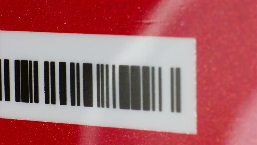 Rotating business card with bar code, Macro shot