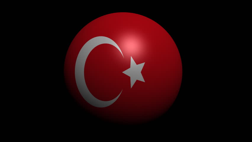 Turkey flag sphere with shadow animation