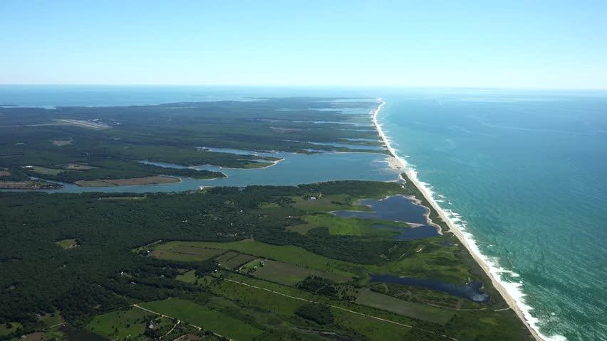 Martha's Vineyard S Coast and inlets, 4k aerials. - 4K stock footage clip