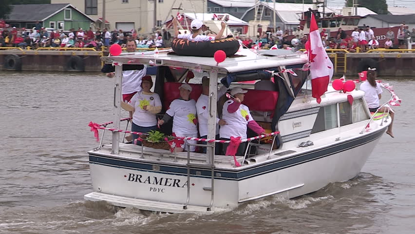 Port Dover, Ontario, Canada July  2014 Canada day boat parade in Port Dover