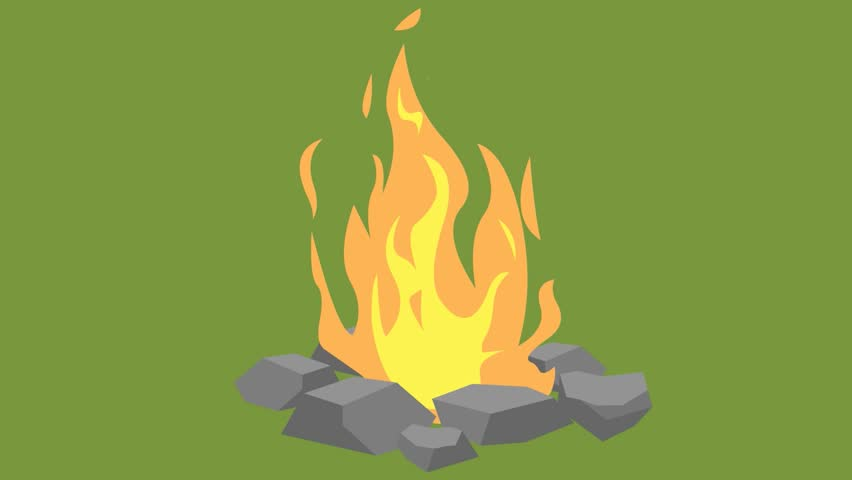 Animation Fire Burning, Fire And Stones, Cartoon, Green ...