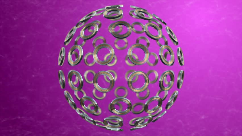 Moving gold and sliver ring sphere pink