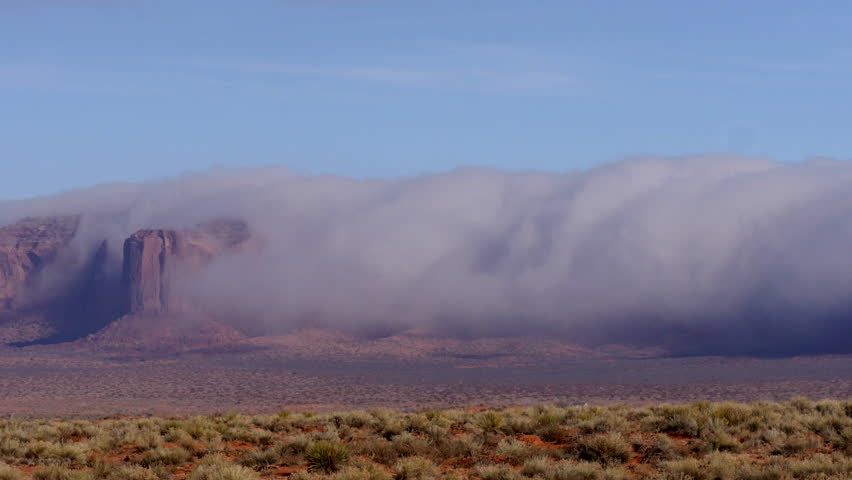 Foggy Mesa. Dense fog and stratus cover the mesas around Monument ...