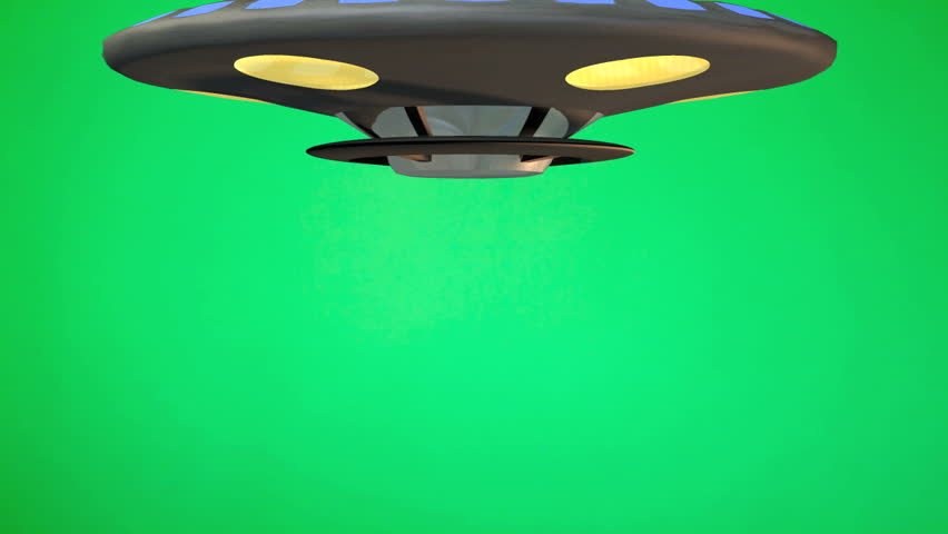 Toy Flying Saucer UFO rotates down from top of green screen. Stops then rotates fly's up to top of green screen