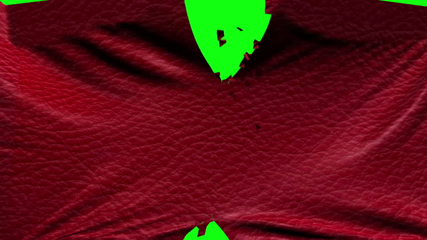 Dark red fabric material ripped transition with green screen and alpha