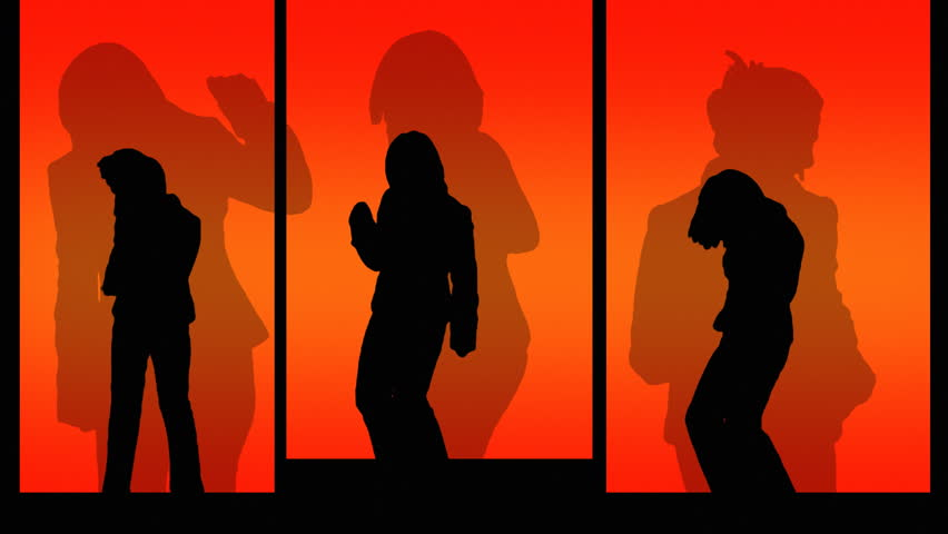 Silhouette Dancers - HD stock footage clip