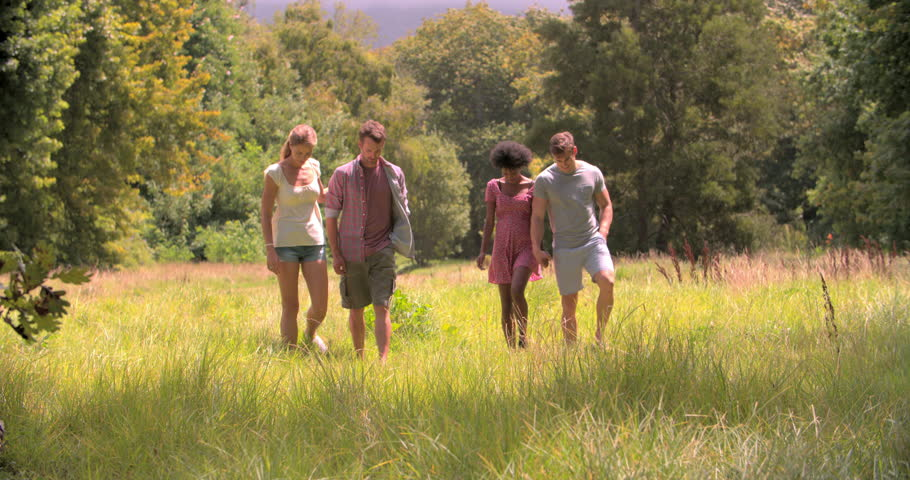 Two couples walking together in the countryside