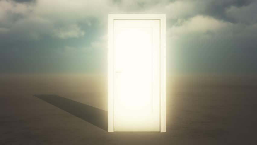 4k open door & timelapse flying clouds on the wide plains,sci-fi scenes,heaven door.