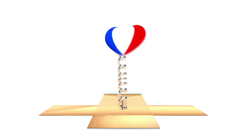 Cardboard box opens to reveal French flag on a heart, bouncing out in the style of a Jack in the Box.