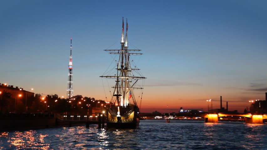 ship standing at pier on Neva night, view from river - HD stock video clip