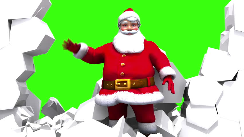 Santa character smashes through an ice wall and waves to the camera. Close up version against solid green.