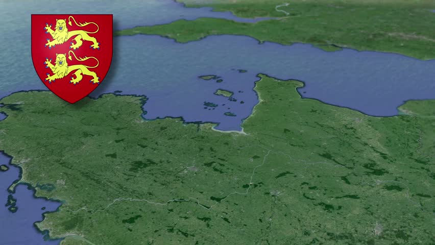 Lower Normandy whit Coat of arms animation map Regions of France