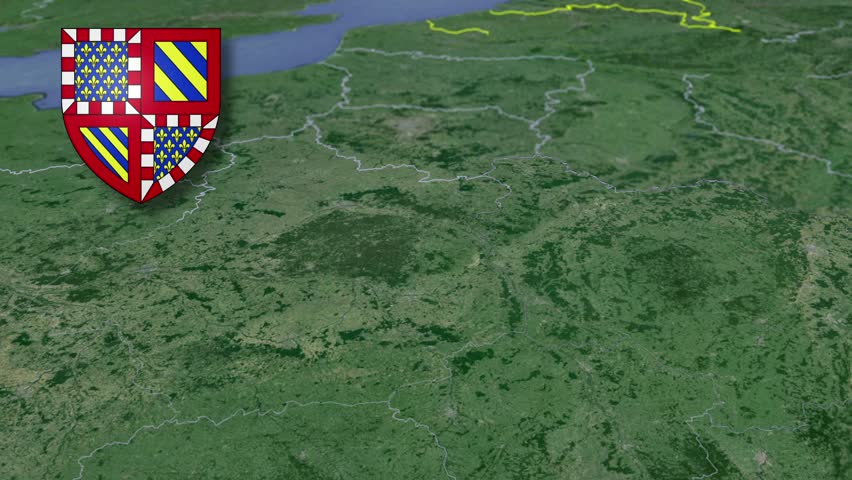 Burgundy whit Coat of arms animation map Regions of France