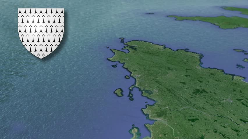 Brittany whit Coat of arms animation map Regions of France