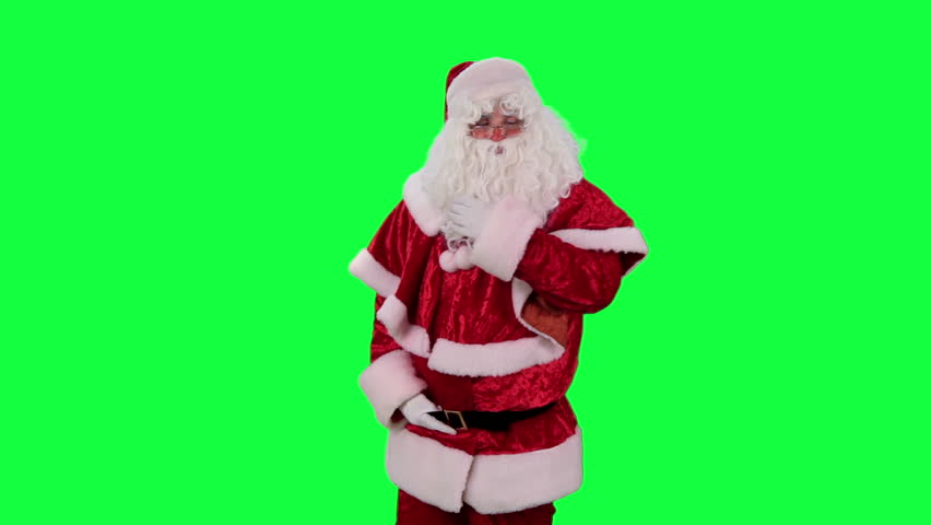 Santa Claus with a gift box chroma key (green screen). Santa catches a present isolated on green