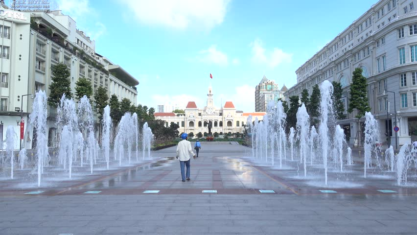 Ho Chi Minh City, Vietnam - August 12, 2015: the illuminated fountain on Nguyen Hue Pedestrian Street in District 1 erupts hourly. The fountain was completed in 2015.