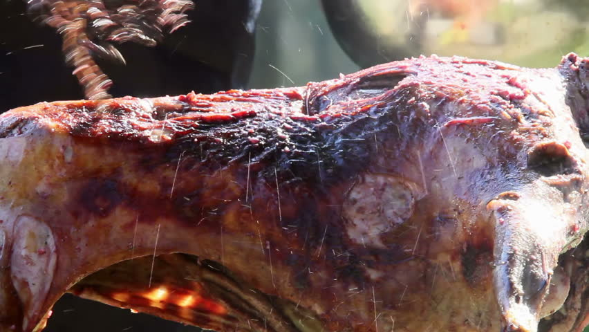 Roasted lamb on the spit. Lamb is basted with a mixture of aromatic spices and wine.