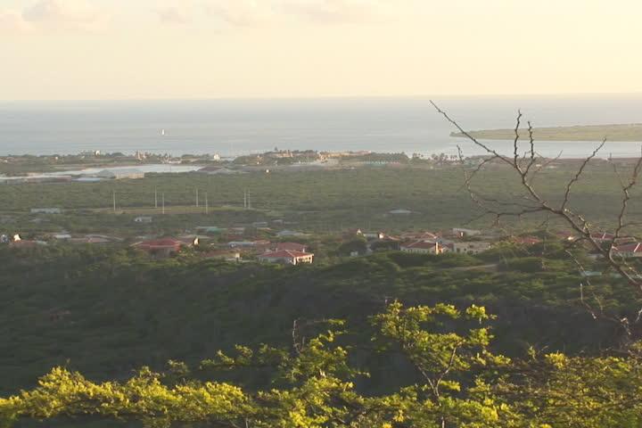 NTSC: Bonaire - pan & cruise ship - SD stock video clip