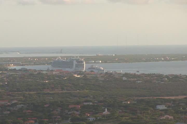 NTSC: Bonaire - zoom & cruise ship - SD stock footage clip