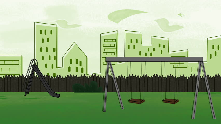 Animated Cartoon Of A Swing Set In A Park Playground Near ...