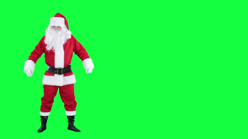 Santa Claus shows up on something chroma key (green screen). Santa points his hand at something isolated on green