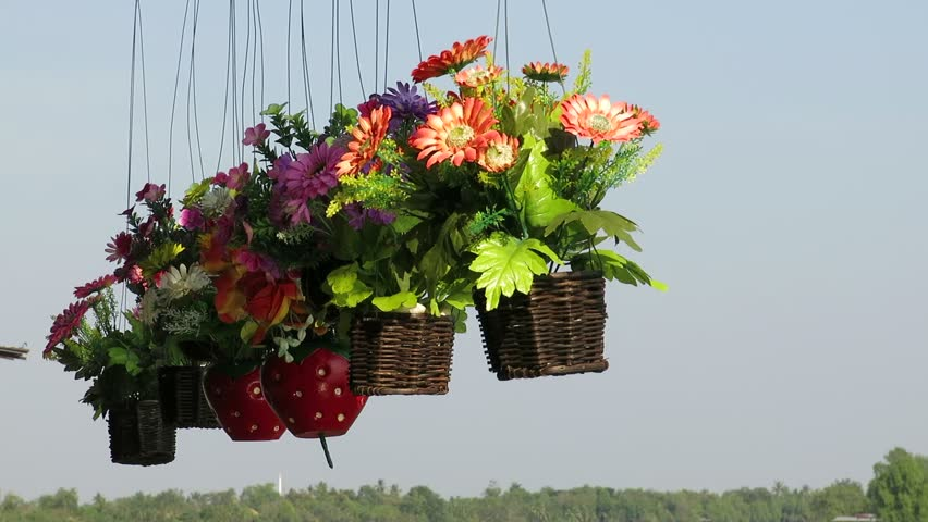 Flower Decoration hung on the roof beside the river