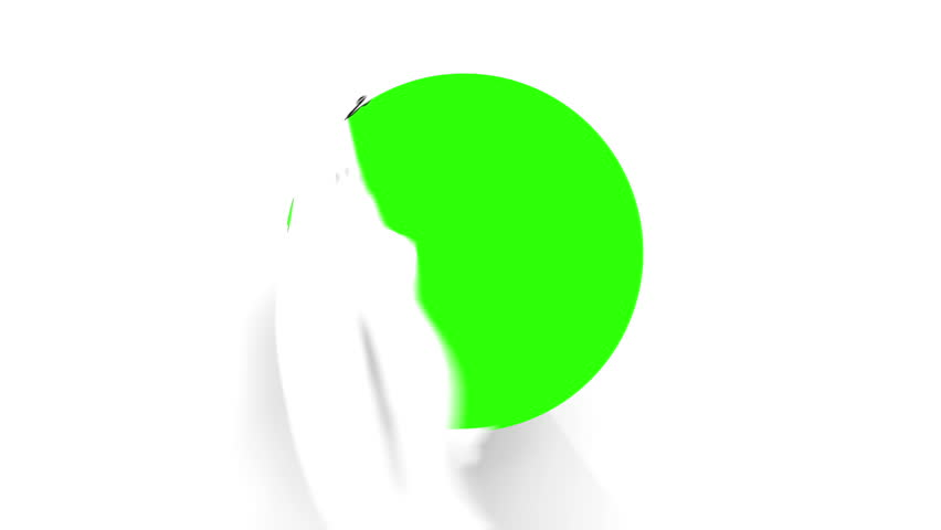 A pair of Chrome Scissors cuts a circle on a blank white page. After half way, the circle the scissors have cut starts to fall from the screen. The camera zooms in to a green screen to a transition.