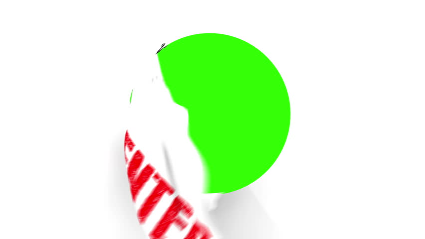 A pair of Chrome Scissors cut around a text of Enter in Red. After half way, the circle the scissors have cut starts to fall from the screen.The camera zooms in to a green screen to a transition.