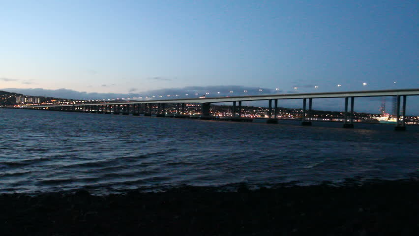 Tay Road Bridge and Dundee Waterfront at dusk Scotland - HD stock footage clip