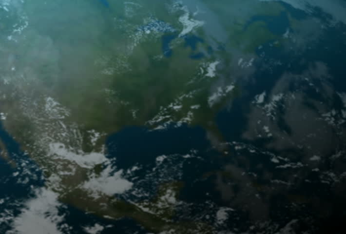Rocket launching from earth into outer space