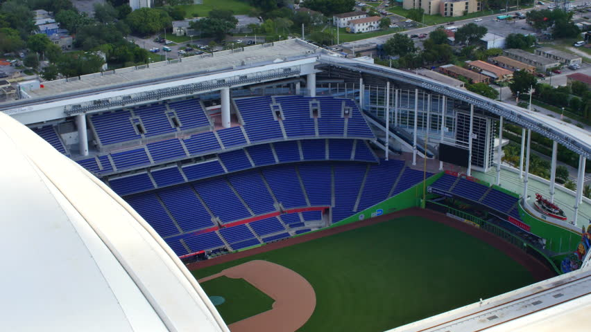 MIAMI - NOVEMBER 2: Aerial video of Marlins Park which is a baseball stadium located in Miami and home to the Florida Marlins November 2, 2015 in Miami FL - 4K stock footage clip