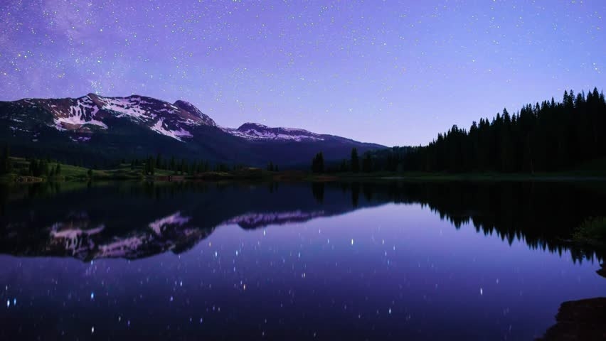 Milky Way, night sky timelapse at Molas Lake with snow capped mountains