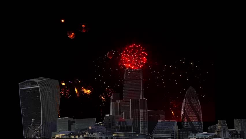 Spectacular display of fireworks with the skyline of the City of London in the foreground